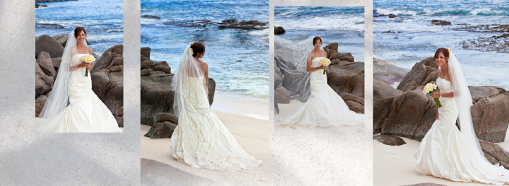 bride on the beach in the Seychelles