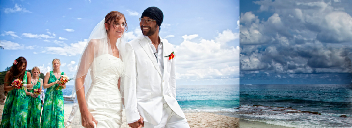 Seychelles bride and groom holding hand at end of beach wedding ceremony
