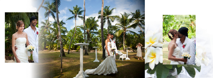 bride and groom  at tropical wedding venue in the Seychelles