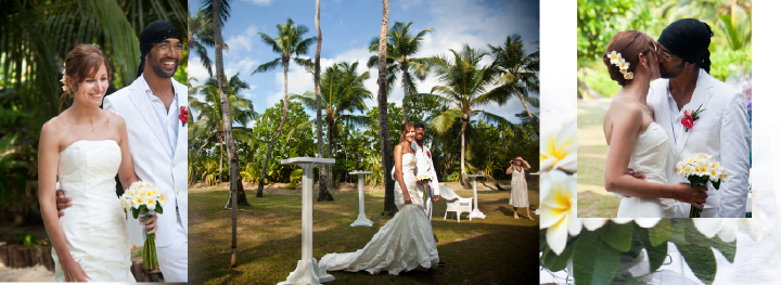 bride and groom arriving at outdoor wedding reception venue in the Seychelles