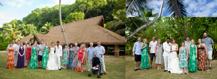 bride's family wedding photos at Cap Lazare in the Seychelles