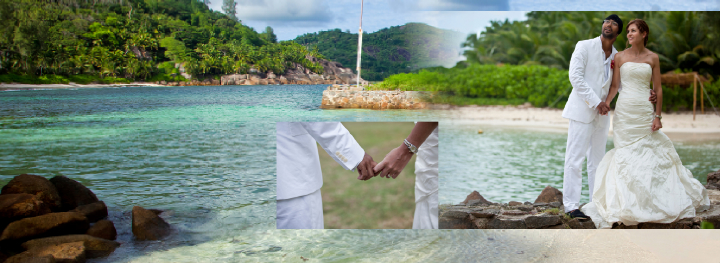 bride and groom by the sea in the Seychelles