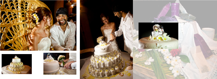 Seychelles bride and groom cutting the wedding cake at night
