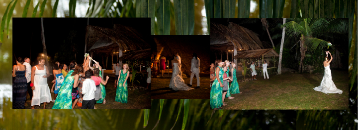 Seychelles bride throwing the bouquet outside under palm trees at night