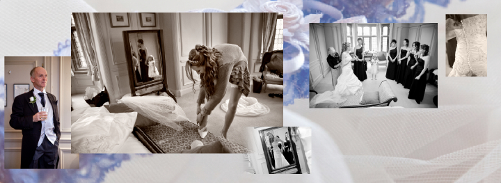 Bride getting ready in bridal suite at Thornton Manor