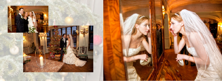 Winter wedding photos inside Thornton Manor