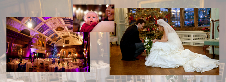 Amazing wedding reception venue: reportage storybook album of winter wedding in a mansion in the UK