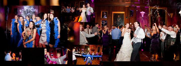 Evening wedding reception pictures at Thornton Manor