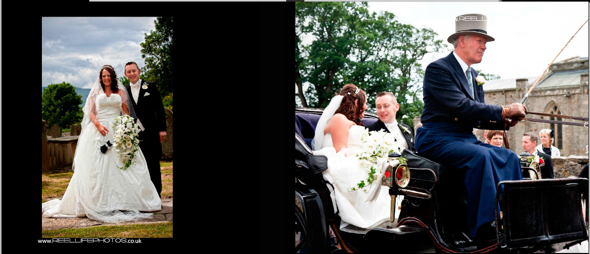 bride leaving Wensley church in horse and carriage