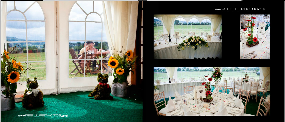 farm wedding reception in a marquee