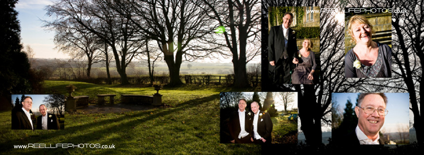 winter wedding pictures outside Tong Holiday Inn