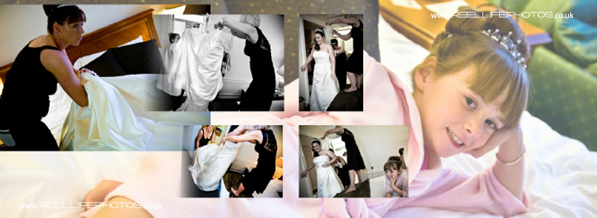 winter wedding pictures of bride getting ready at Tong Holiday Inn near Bradford