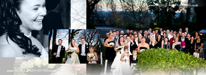 winter wedding pictures outside Tong Holiday Inn in West Yorkshire