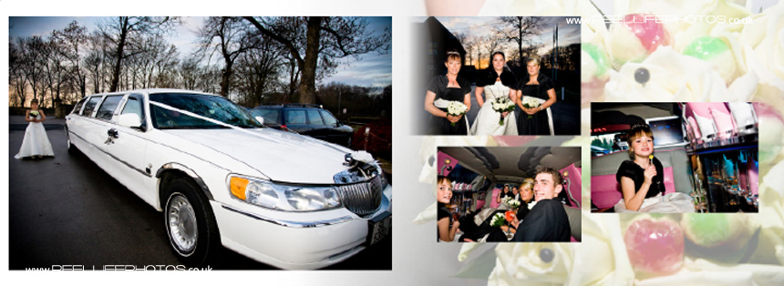 winter wedding pictures with and inside the limo