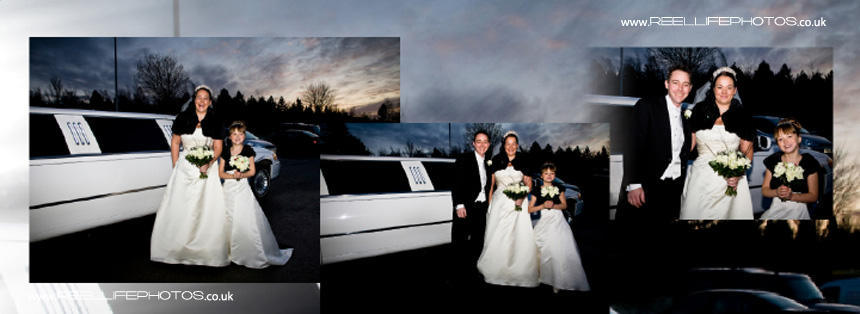 winter wedding pictures by the limo