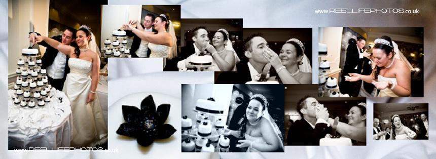 having fun with cutting the wedding cake