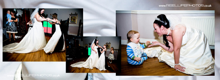 bride dancing with her daughter, and baby son by disco lights