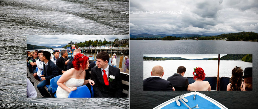 wedding photos on a boat on Windermere