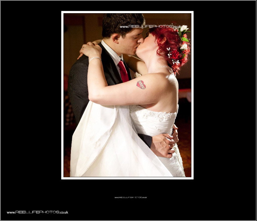first dance picture on last page of wedding storybook