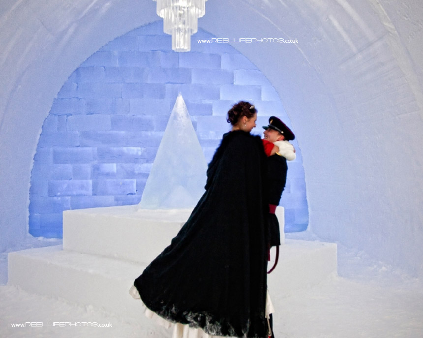 Ice Hotel wedding photos with the bride and groom inside main chamber