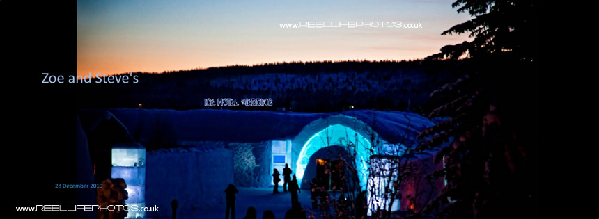 Outside of The Ice Hotel in Sweden at night
