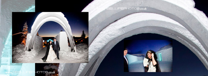 ice hotel bride and her father underneath snow arch in Sweden