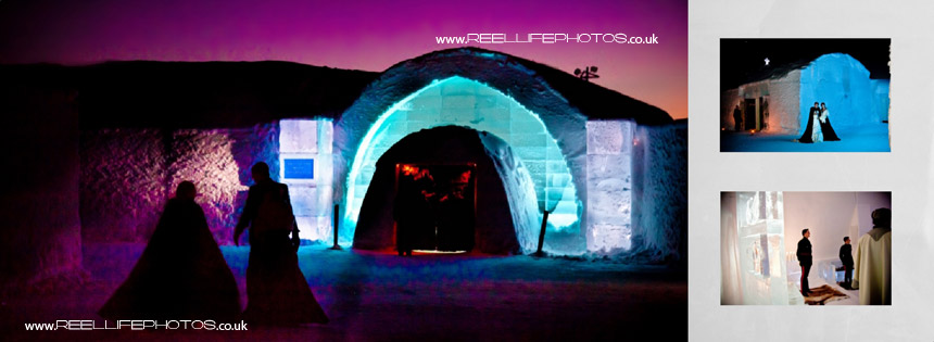 picture of ice hotel at night