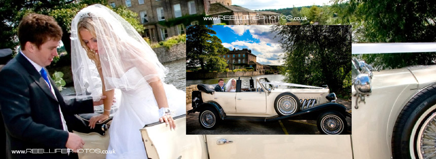 wedding car arrives at lake at Waterton Park Hotel wedding venue near Wakefield