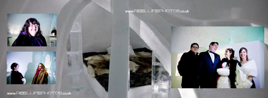 Ice Hotel wedding photos with background of one of th art bedrooms
