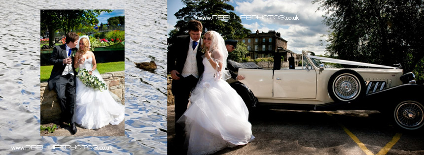 natural wedding photos of bride and groom by lake at Waterton Park Hotel