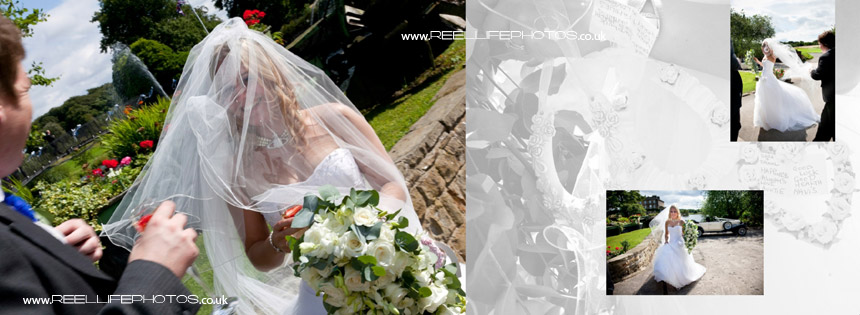 bride's veil on a windy floating flying round her face by the lake at Waterton Park Hotel