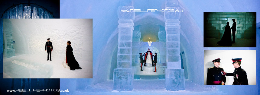 wedding photos inside the Ice Hotel
