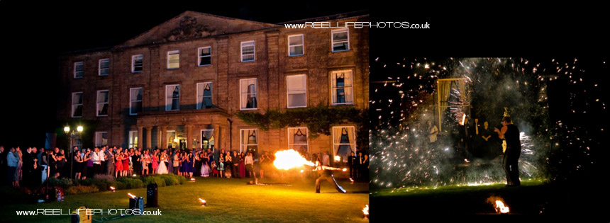 Fire-eater at Waterton Park Hotel  for evening wedding entertainment