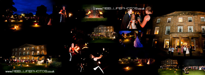 Juggling fire-eater at Waterton Park Hotel wedding evening reception
