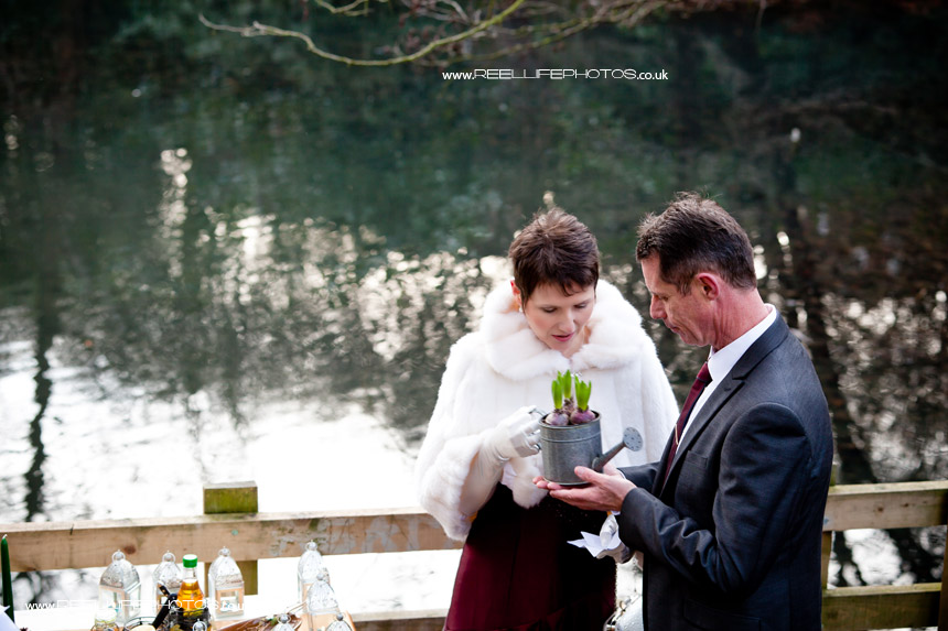 The element of Earth during unusual outdoor wedding ceremony