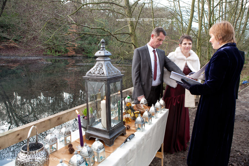 unusual wedding ceremony in the woods in Leeds by a lake
