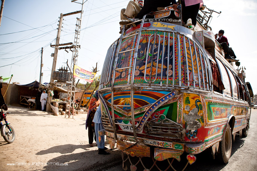 "Pakistani bus with its ladder to the ""top deck"""
