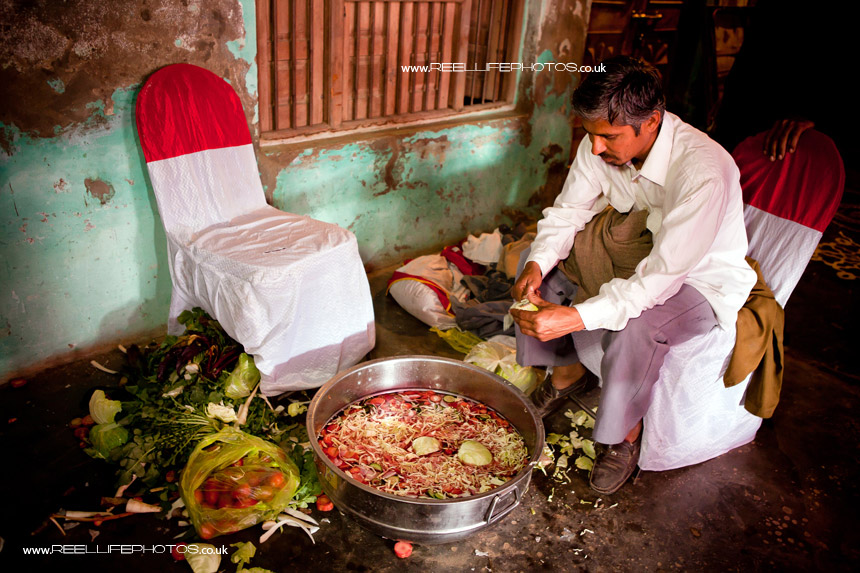 Salad being prepared for wedding