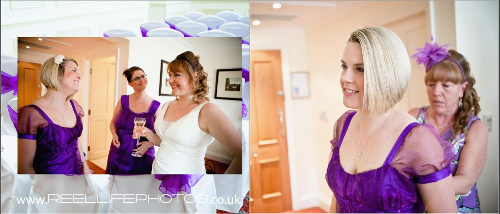 Bride and bridesmaids wedding photos at Wentbridge House Hotel