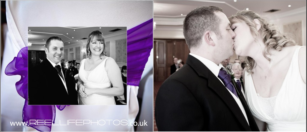 "storybook wedding photography at Wentbridge House Hotel with ""The Kiss"""