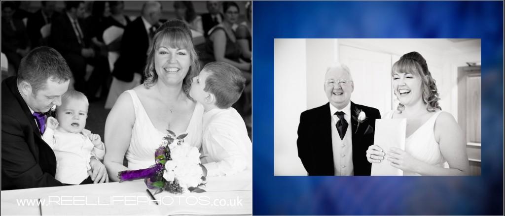 signing the register family storybook wedding album photos at Wentbridge House