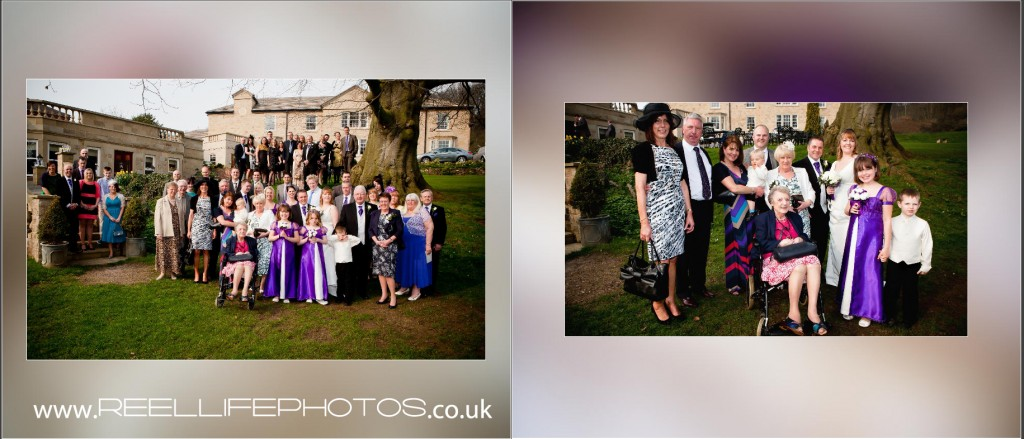 Big group wedding photo at Wentbridge House Hotel in storybook wedding album