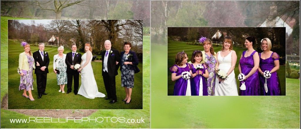 family wedding photos at Wentbridge House Hotel gardens in wedding storybook