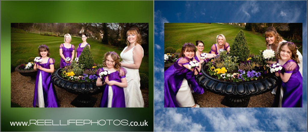 storybook wedding album pictures of bridesmaids outside Wentbridge House in the gardens