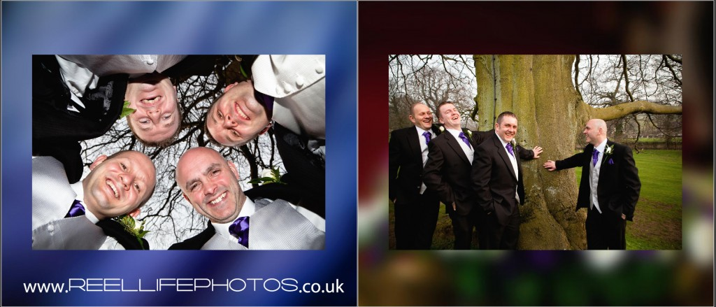 groomsmen wedding pictures in a fun contemporary style