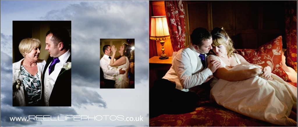 fun and romantic wedding pictures at Wentbridge House Hotel in bridal suite