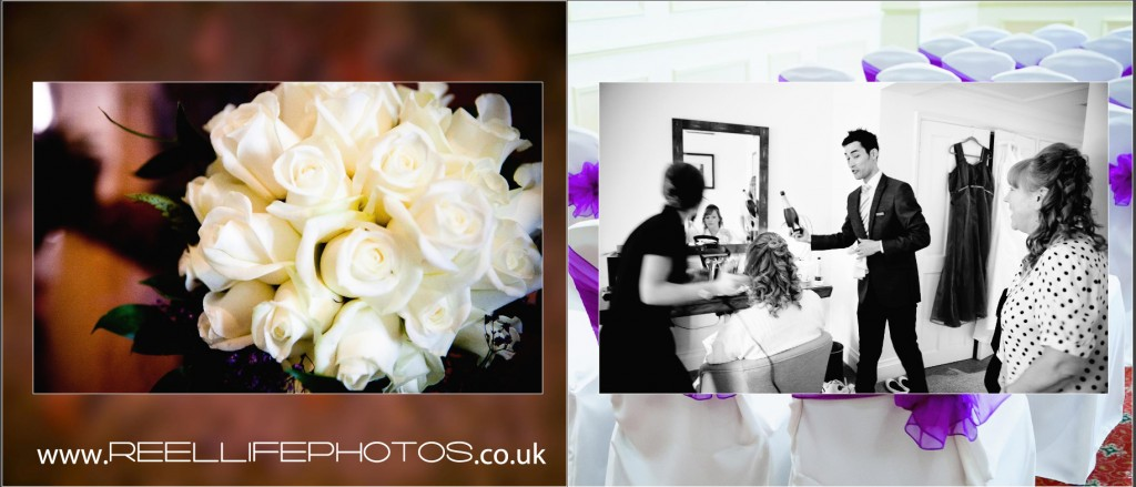 wedding bouquet and champagne at Wentbridge House Hotel