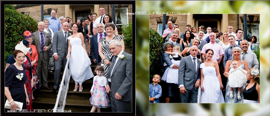 wedding photos on the steps at Blenheim House in Batley West Yorkshire
