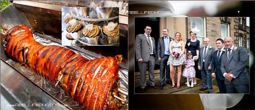 Hog roast and cup cakes in wedding storybook