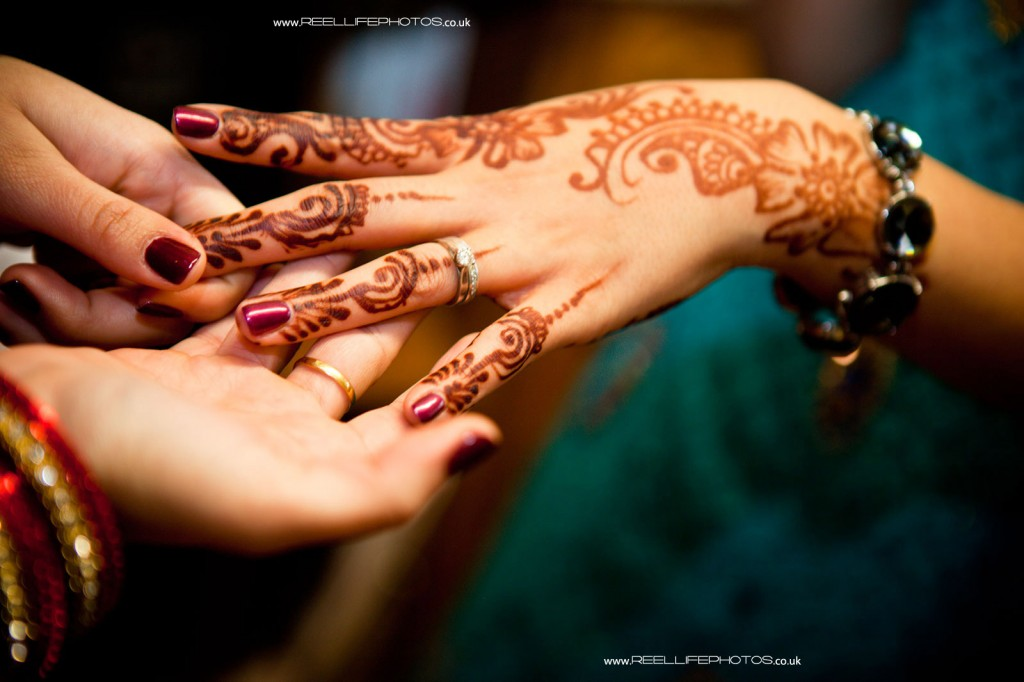 Hindu wedding henna on hands at Mayan ceremony